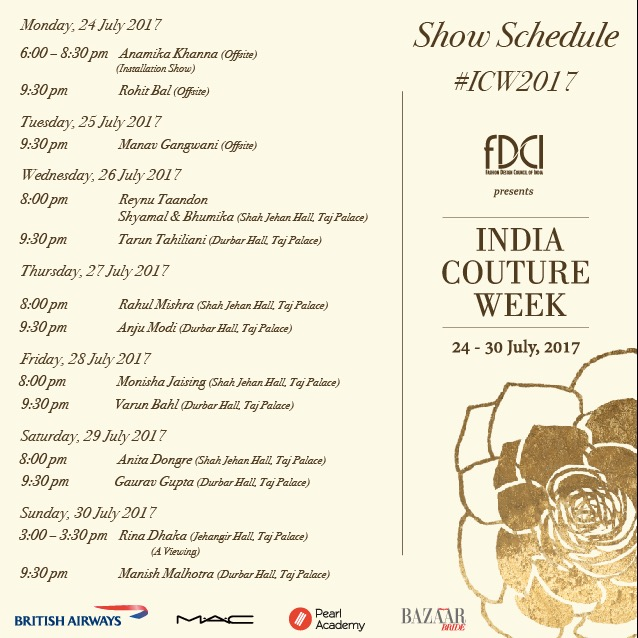 India couture week 2017 calendar