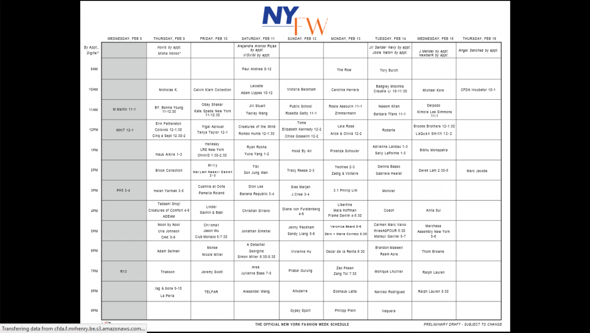 The Nyfw Women S Official Schedule 2017 F Trend