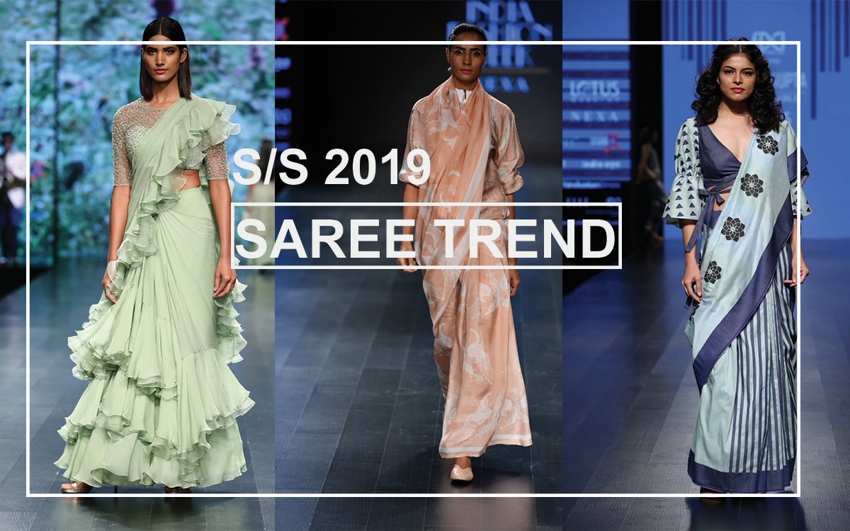 S S 2019 Lotus Makeup India Fashion Week 2018 Saree Trend F Trend