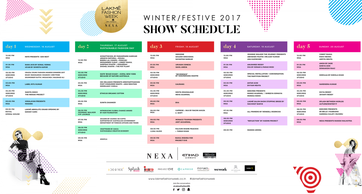 Lakme Fashion Week 2017 Winter Festive Season Dates And Calendar F